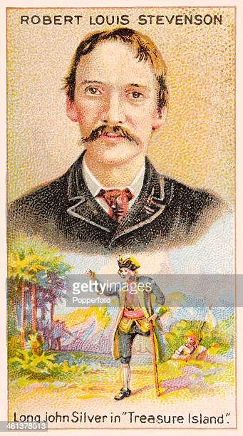 A Men of Genius Shelley cigarette card featuring illustrations of the Scottish author Robert Louis Stevenson and his creation Long John Silver from...