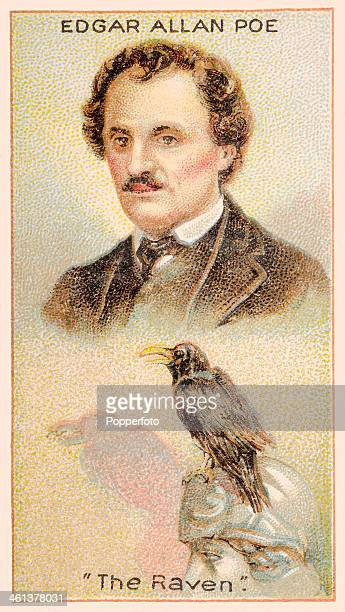 A Men of Genius Shelley cigarette card featuring illustrations of the American poet Edgar Allan Poe and his poem The Raven published by J Milhoff and...