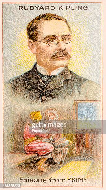 A Men of Genius Shelley cigarette card featuring illustrations of the English author Rudyard Kipling and a scene from his novel Kim published by J...