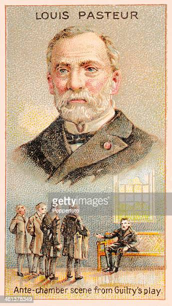 A Men of Genius Shelley cigarette card featuring illustrations of the French chemist and microbiologist Louis Pasteur and a scene from a play by...