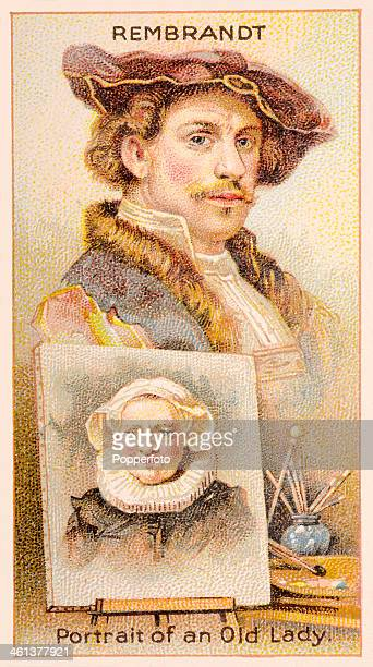 A Men of Genius Shelley cigarette card featuring illustrations of Rembrandt van Rijn the Dutch artist and one of his paintings published by J Milhoff...