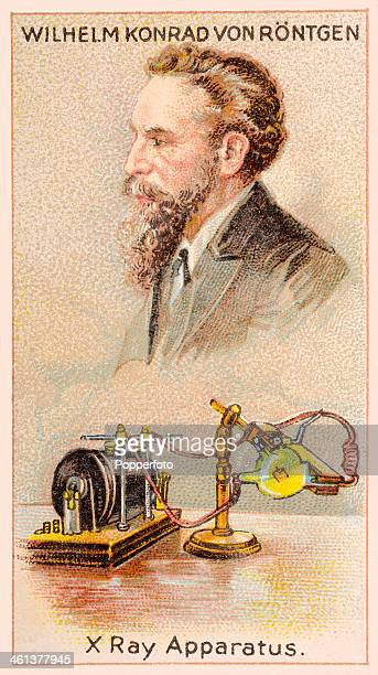 A Men of Genius Shelley cigarette card featuring illustrations of Wilhelm von Rontgen the German physicist with his Xray apparatus published by J...