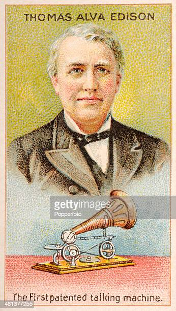 A Men of Genius Shelley cigarette card with illustrations featuring Thomas Alva Edison the American inventor and his first patented talking machine...