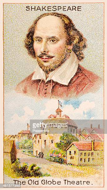 A Men of Genius Shelley cigarette card with illustrations featuring William Shakespeare the Elizabethan dramatist and the Old Globe Theatre in London...