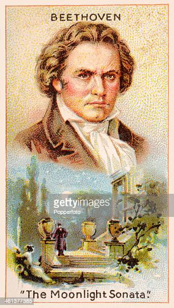A 'Men of Genius' Shelley cigarette card with illustrations featuring Ludwig van Beethoven the German composer and an illustration for his 'Moonlight...