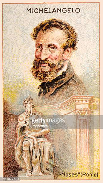 A Men of Genius Shelley cigarette card with illustrations featuring Michelangelo the Italian artist and his sculpture of Moses published by J Milhoff...