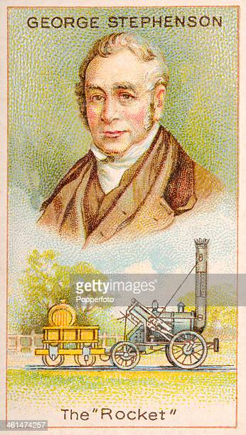 A Men of Genius Shelley cigarette card with illustrations featuring George Stephenson the father of the locomotive and his Rocket published by J...