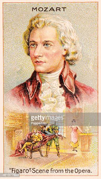 A Men of Genius Shelley cigarette card with illustrations featuring the German composer Wolfgang Amadeus Mozart and a scene from his opera Figaro...
