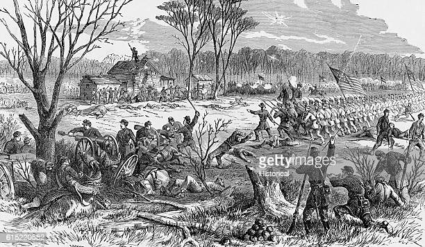 Men of the 1st Ohio Infantry Regiment recapture artillery at Shiloh Church near Pittsburgh Landing on April 7 during the Shiloh Campaign