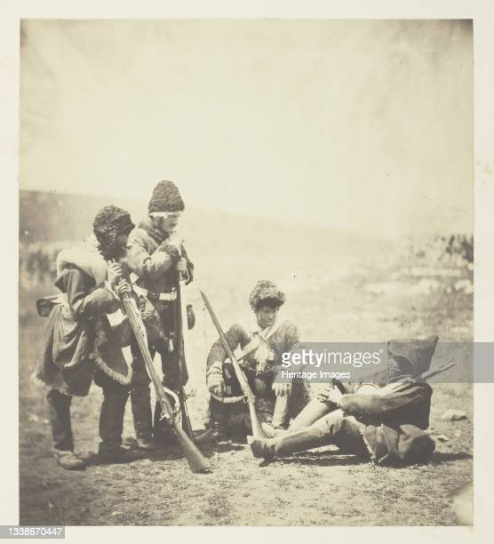 Men of the 77th ready for the Trenches, 1855. A work made of salted paper print, plate 18 from the album 'photographs taken in the crimea' . Artist...