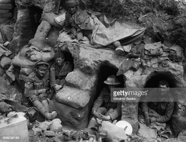 Men of the Border Regiment resting in a front line trench Thiepval Wood August 1916 British Front France '16 General Battle Somme