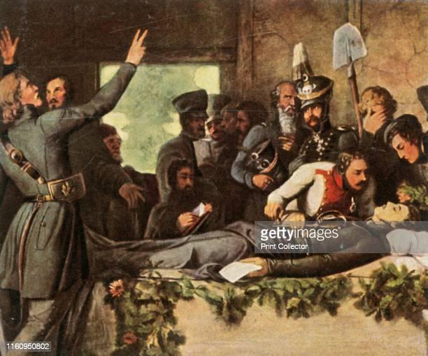 Men of the Lützow Free Corps with Körner's body 26 August 1813 'Die Lützower An Der Leiche Körners 26 August 1813' German poet and soldier Carl...
