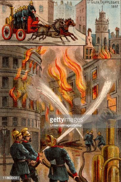Men of the Metropolitan Fire Brigade fighting outbreak of fire in the City of London 19 November 1897 About 100 warehouses destroyed and the roof of...