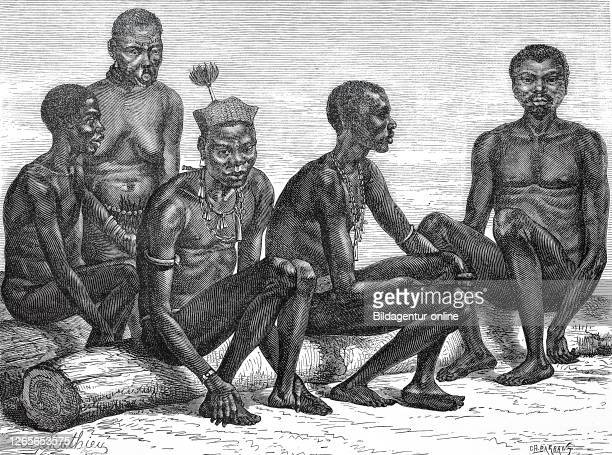 Men of the tribe of Mittous at MittousMadis Africa / Männer des Stammes Mittous in MittousMadis Afrika Reproduction of an original print from the...