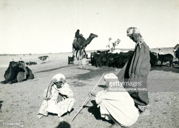 Men of the Wahhabi Brotherhood, white-turbaned, Gerald de Gaury was a British military officer; he was the British political agent in Kuwait during...