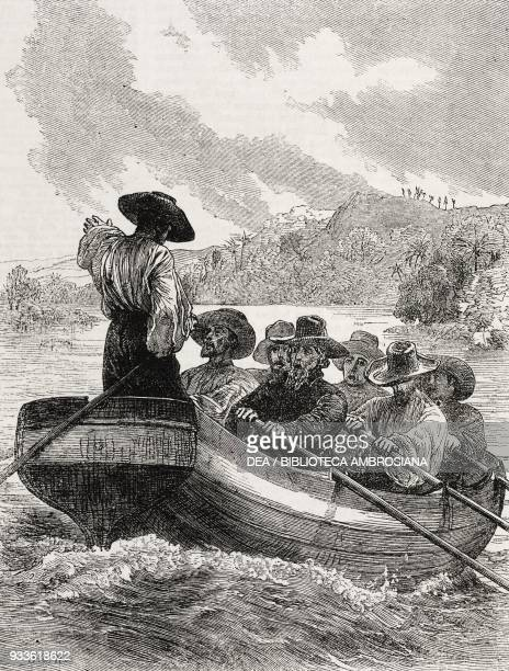 Men on boat scene from Emigrants by Andrew Marvell illustration from the magazine The Illustrated London News volume XLIII December 12 1863