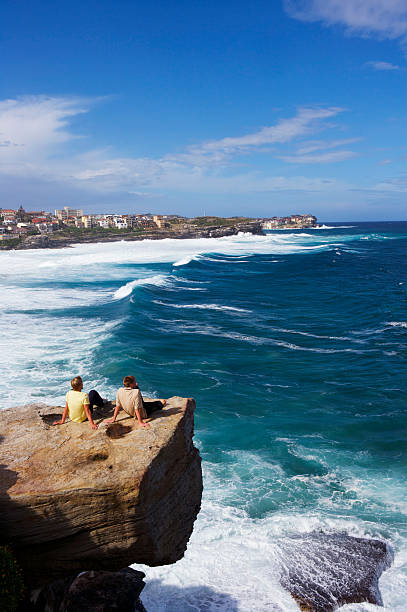 Men On Sea Rocks At Bronte Beach Looking North To Bondi. Wall Art
