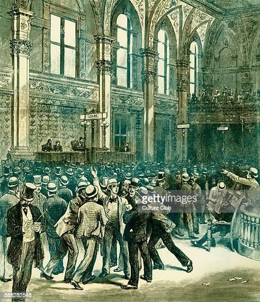 Men on the floor of the New York Stock Exchange Wall Street 1880s Illustration by Charles Graham