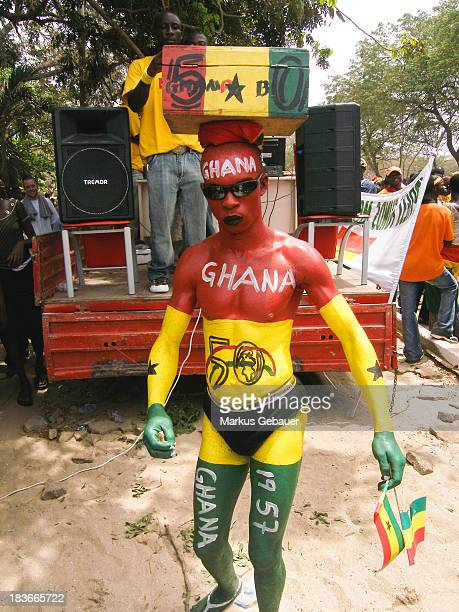 Men painted his body in Ghana's national colors during the 50 years independence celebration in Accra, Ghana, West Africa on March 06. 2007.