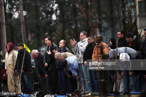 Men participate in Friday Prayer at the Omar Mosque on February 24 2012 in Paterson New Jersey The New York Police Department has come under renewed...