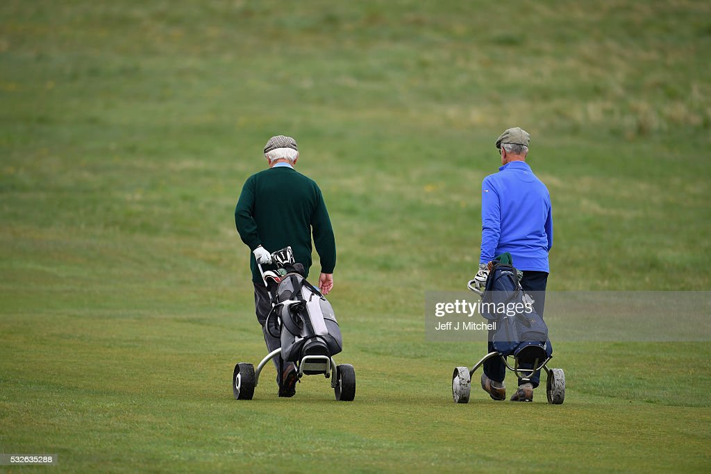 Men play golf at Muirfield Golf Club where they rejected the decision on women as members to be overturned on MAY 19, 2016 in Gullane,Scotland. The golf club failed to rally the majority of members behind the vote allowing women to join, the club has now lost the right to hold the Open Championship as a result.