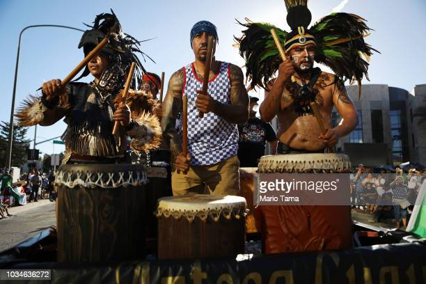 Men play traditional Aztec drums in a parade marking Mexican Independence Day on September 16 2018 in Santa Ana California 116 million immigrants...