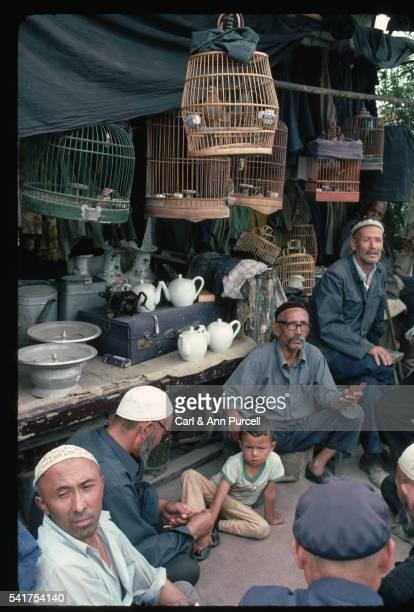 men playing cards in urumqi - only men stockfoto's en -beelden