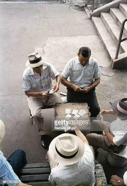 Men playing cards outdoors