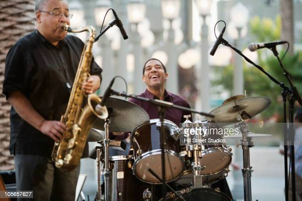 men playing in jazz band - jazz stock pictures, royalty-free photos & images