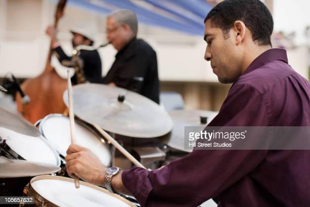 Men playing in jazz band