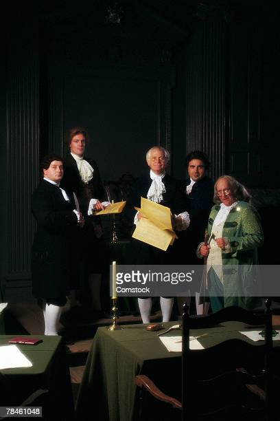 men portraying founding fathers - founding fathers stock photos and pictures