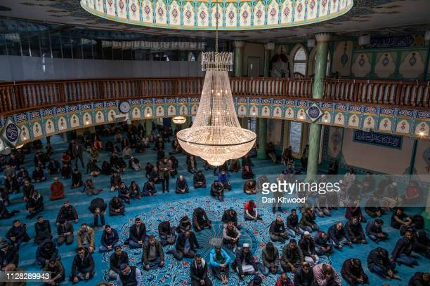 Men pray at the Suleymaniye Mosque in East London on March 1, 2019 in London, England. This weekend is Visit My Mosque 2019 where the general public...