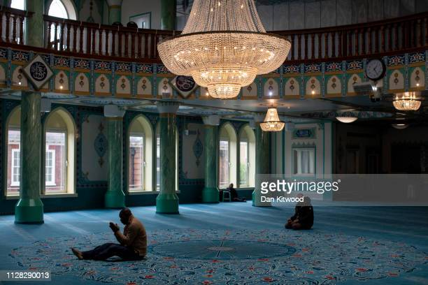 Men pray at the Suleymaniye Mosque in East London on March 1 2019 in London England This weekend is Visit My Mosque 2019 where the general public are...