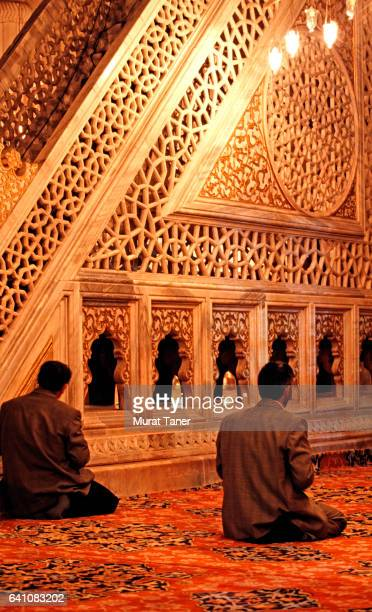 men praying at selimiye mosque in edirne - selimiye mosque stock pictures, royalty-free photos & images