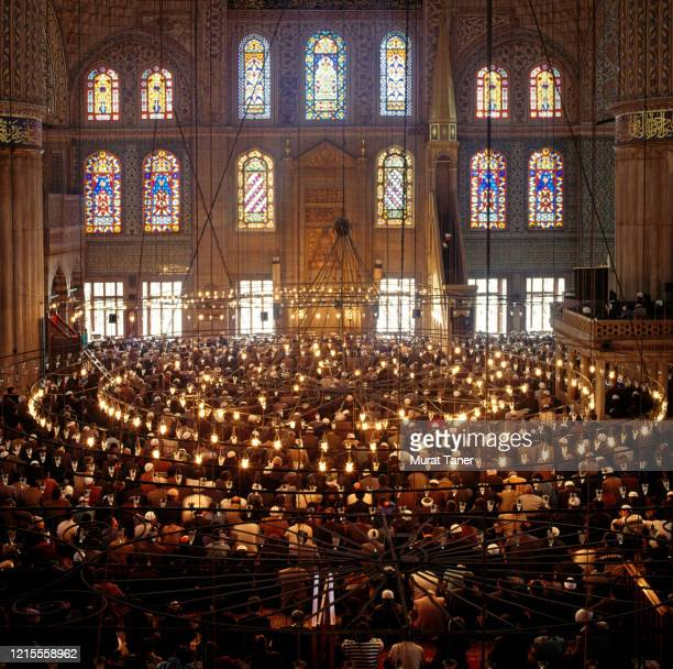 men praying inside the blue mosque - religious service stock pictures, royalty-free photos & images
