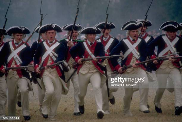 men reenacting bayonet charge - presidents day stock pictures, royalty-free photos & images