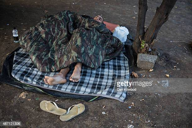 Men rest in a public park near the train station September 6 2015 in Belgrade Serbia Many migrants short on financial resources and unsure of what...