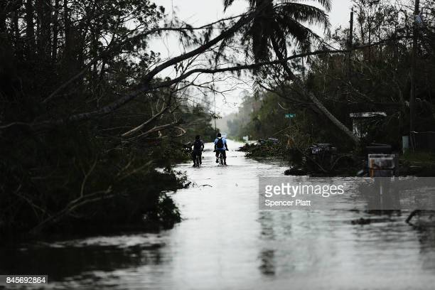 Men ride bicycles through a flooded street in a rural part of Naples the morning after Hurricane Irma swept through the area on September 11, 2017 in...