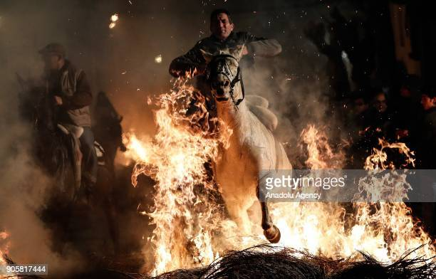 Men ride horses through fire to purify and protect their horses during the Las Luminarias festival at the San Bartolome de Pinares village in Madrid...