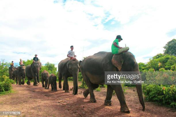 men riding elephants on field against cloudy sky - ko ko htike aung stock pictures, royalty-free photos & images