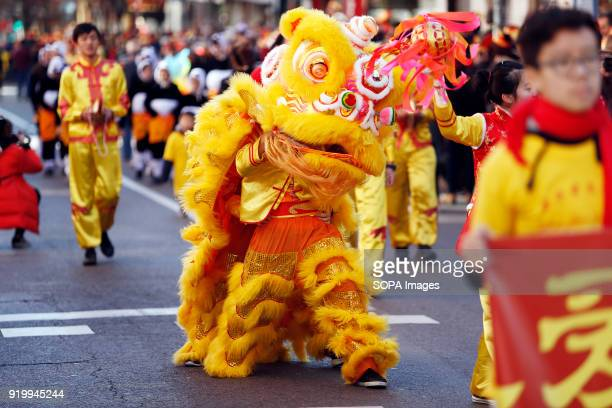 Men seen inside a lion costume during the chinese new year parade Thousand of participants take part in the Chinese New Year parade in Madrid to mark...