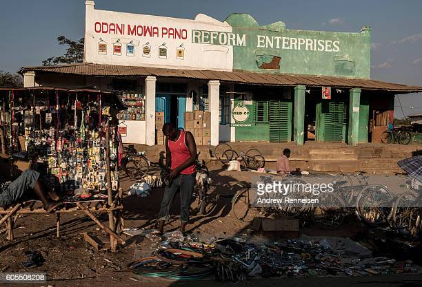 Men sell bicycle parts in the village of Jali which lies in one of the areas most affected by drought on September 10 2016 in Zomba Malawi Drought...