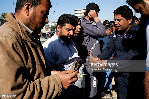 Men sell birds nets at the Shorja bird market. 10 years after the US led invasion, Iraq continues to suffer from violence and lack of services....