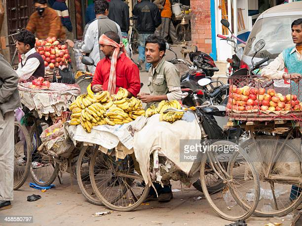 men sell fruit from bicycles, kathmandu - editorial stock pictures, royalty-free photos & images