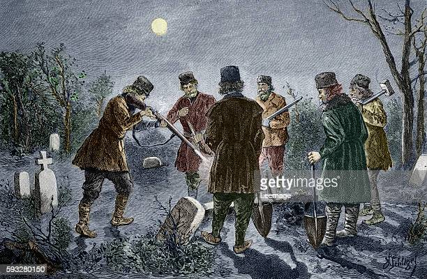Men shoot at a vampire lying staked through the heart in a cemetery Transylvania Romania Engraving 19th century Private collection