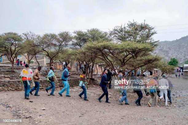 Men sing and dance during a marriage ceremony in Alitena town which is home to the Irob ethnic group on July 12 2018 A breakneck peace process...