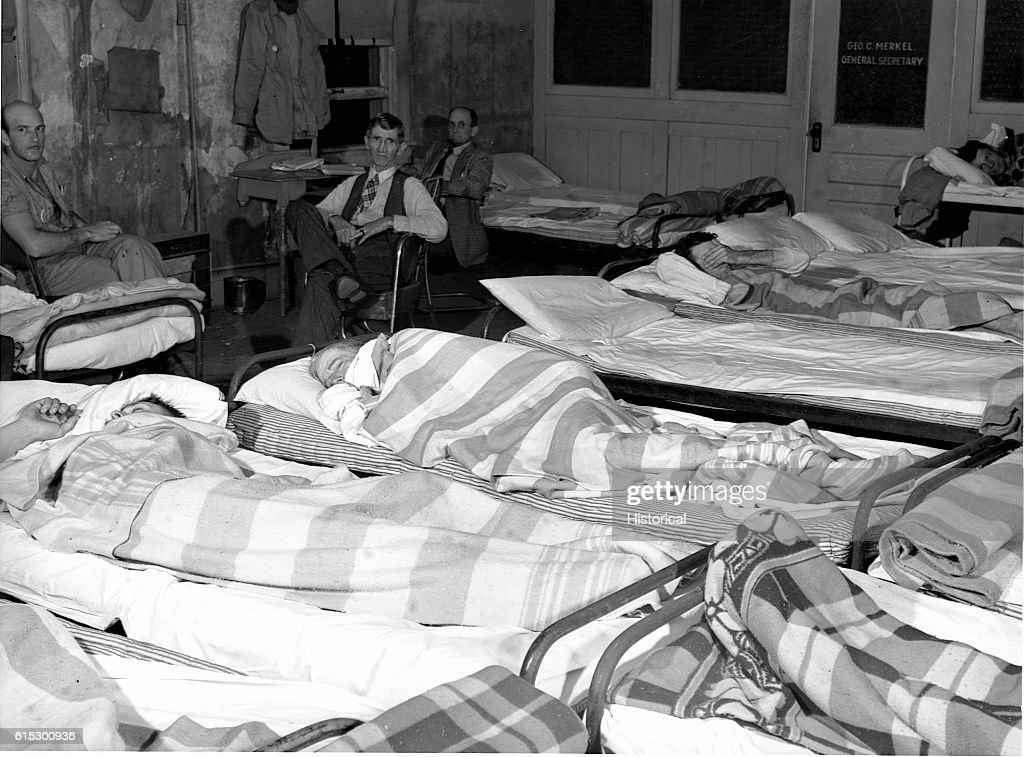 Wonderful Men Sleeping Inside A Flop House Where Workers Constructing The Local Army  Camp Stay. Some
