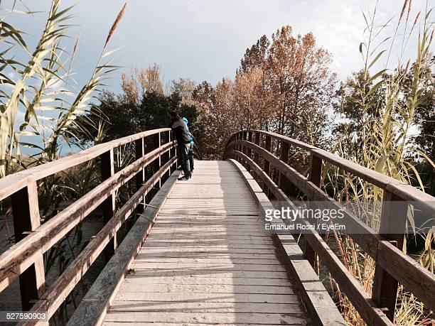 men standing on boardwalk in forest - men stockfoto's en -beelden