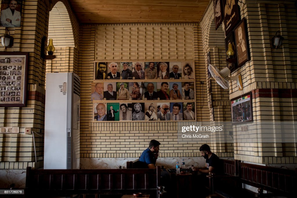 Men take tea in a famouse tea house in the old city on September 22, 2017 in Erbil, Iraq. The Kurdish Regional government is preparing to hold the September 25, independence referendum despite strong objection from neighboring countries and the Iraqi government, which voted Tuesday to reject Kurdistan's referendum and authorized the Prime Minister Haider al-Abadi to take measures against the vote. Despite the mounting pressures Kurdistan President Masoud Barzani continues to campaign and state his determination to go ahead with the vote.