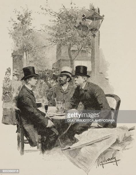 Men talking at a table in an outdoor cafe engraving from Sappho Parisian manners by Alphonse Daudet engravings by Guillaume Freres